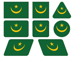 set of buttons with flag of Mauritania
