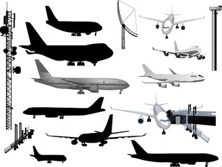 grey and black airplanes collection isolated on white