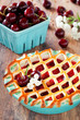 Pie with apples and cherries, selective focus