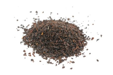 Pile of Black Tea Isolated on White Background