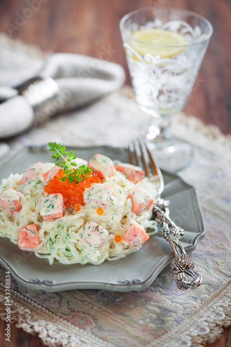Shirataki noodles with smoked salmon and dill in creamy sauce