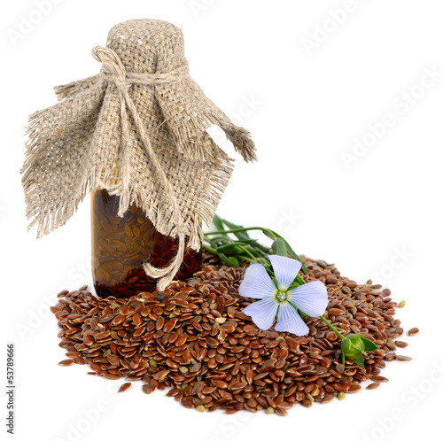 Flax seeds and flowers.