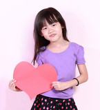 girl and heart shape paper