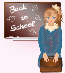 Cute little girl with school bag, vector illustration
