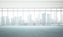 Grande fenêtre dans le bureau blanc