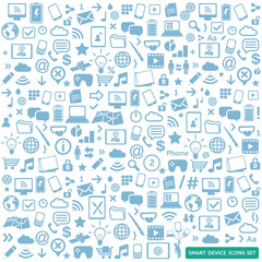 smart device icons set - new technology background