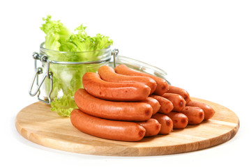 sausages on cutting board