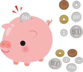 ブタさん型の貯金箱と小銭