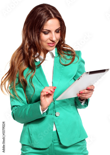Young beautiful woman in bright suit