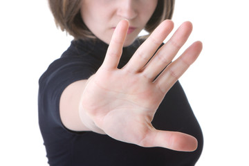 picture of woman making stop gesture