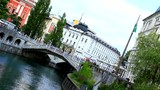 Ljubljana, capitol of Slovenia, Europe. Tromostovje bridges.