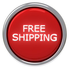 Red free shipping button, 3d