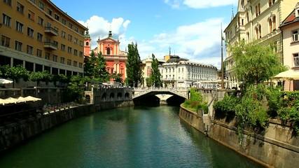 Ljubljana, capitol of Slovenia, Europe. River Ljubljanica.