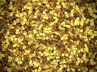 Background of golden coins piled in a heap. Storage of gold.