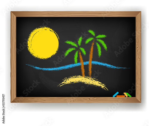 Palm trees, the sun, the island drawn in chalk on a blackboard