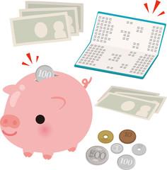 通帳と貯金箱とお金