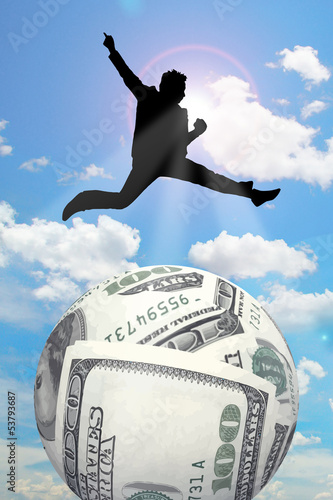 man jump over money