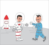astronaut guy on planet with friend