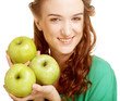 woman with three apples