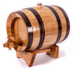 Wine barrel with legs and cork on top