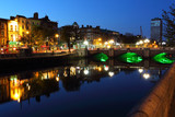 Liffey river in Dublin at dusk