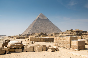 Pyramid of Khafre in Great pyramids complex in Giza