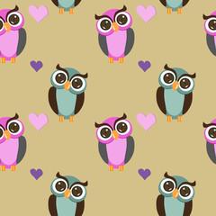 seamless pattern owls
