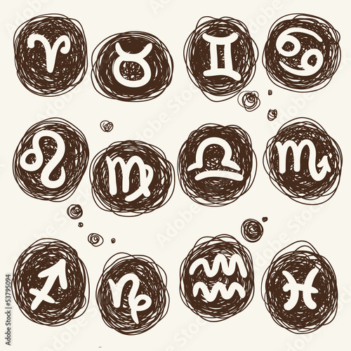 zodiac icon set on a round texture - scribble