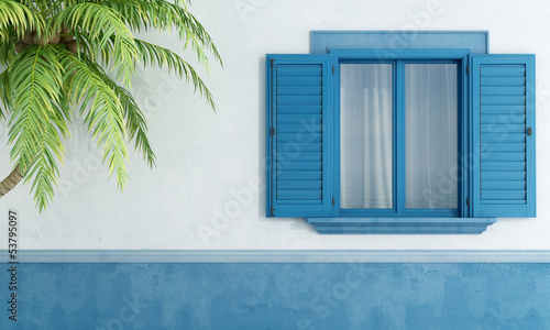 canvas print picture Detail of a Mediterranean house