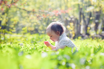 Portrait of little girl in a spring forest