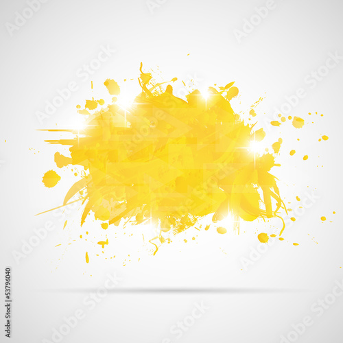 Deurstickers Vormen Abstract background with yellow paint splashes.