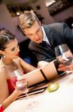 Couple on romantic restaurant