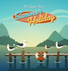 Summer holiday. Retro bacground