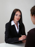 Recruiter checking candidate during job interview