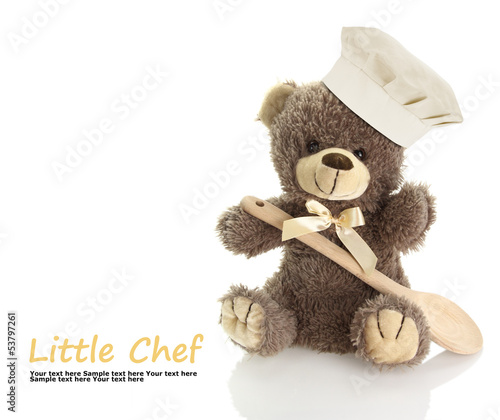 Classic teddy bear with chef hat