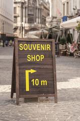 Souvenir shop notice board in the street