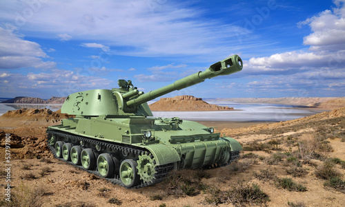Russian self-propelled howitzer divisional in desert landscape