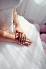 beautiful female hands with nail polish bride
