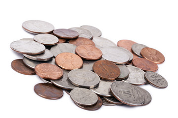 Isolated US Coins Pile