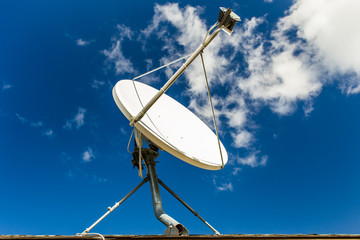 White satellite dish with blue sky