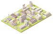 Isometric factory buildings