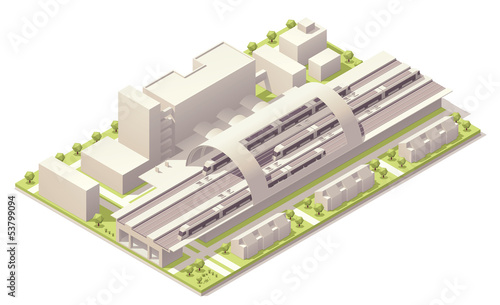 Isometric modern train station - 53799094