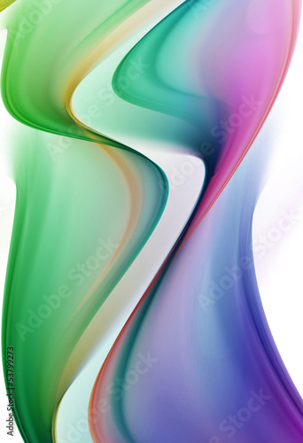 Abstract green and blue waves on white background