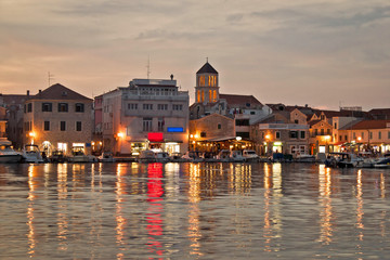 Vodice waterfront golden evening view