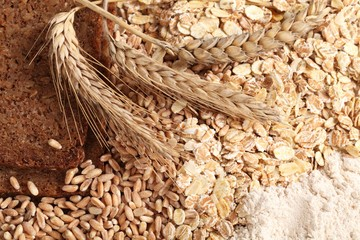 Close-up of rye bread, wheat, cereal flakes and wholegrain flour