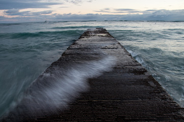Breakwater on Waikiki beach in Honolulu