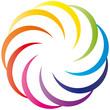 Farbkreis als Blume - Logo - Sichel rund