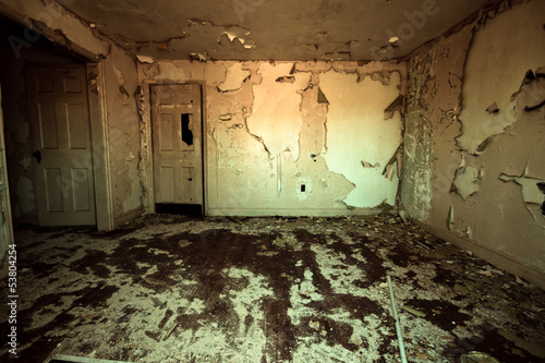 canvas print picture Frightening room in abandoned home with peeling paint