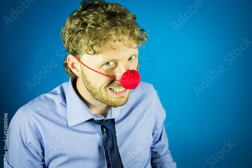 man with a clown nose