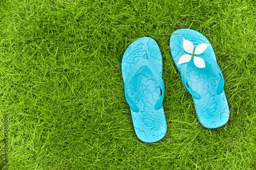Tongs bleu turquoise sur une pelouse